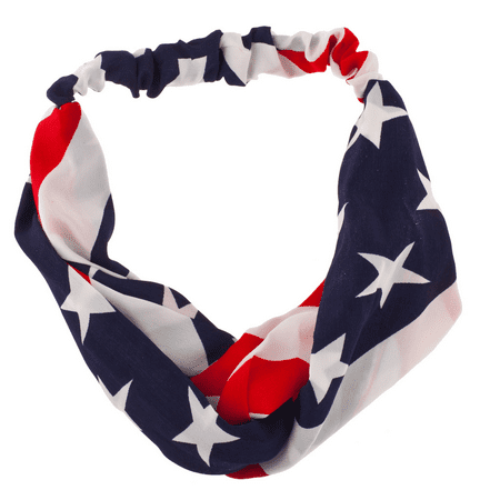 Lux Accessories American Flag Stars Stripes 4th Of July Stretch Headband Head Band - Star Headband