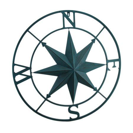 Metal Compass Rose Distressed Finish Wall Hanging (Blue Metal Rose)