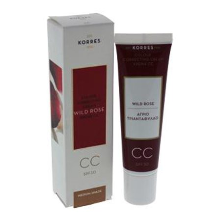 Korres Wild Rose Cc Colour Correcting Cream Spf 30 - Medium Shade Cream For Women  1.01 oz