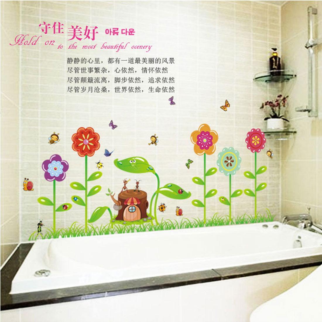 Flower Stump Print Water Resistant Adhesive Wall Sticker Decal Mural 70 x 50cm - image 4 de 5