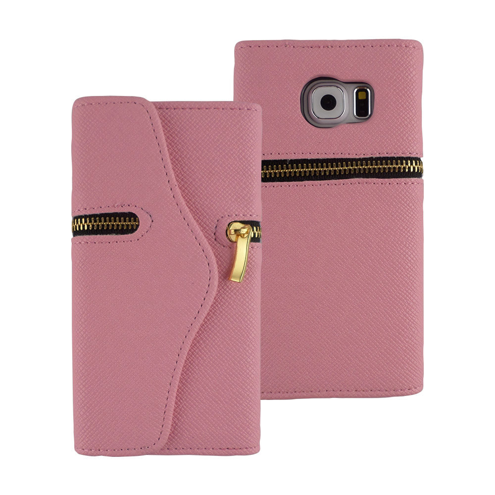 TCD Galaxy S6 Elegant Zipper PU Leather Wallet Screen Protector & Stylus