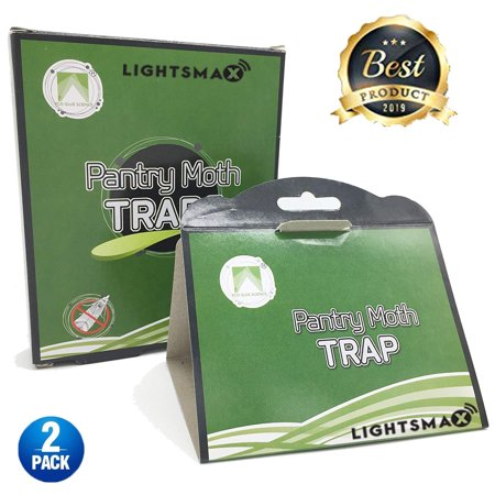 LIGHTSMAX Pantry Moth Traps 2-Pack with Premium Pheromone Attractant | Most Effective Trap Available | Non-Toxic Safe No