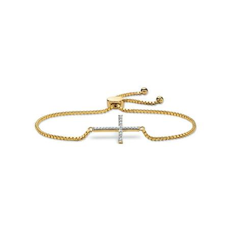 Diamond Accent Cross Charm Adjustable Drawstring Bracelet 18k Yellow Gold-Plated 9