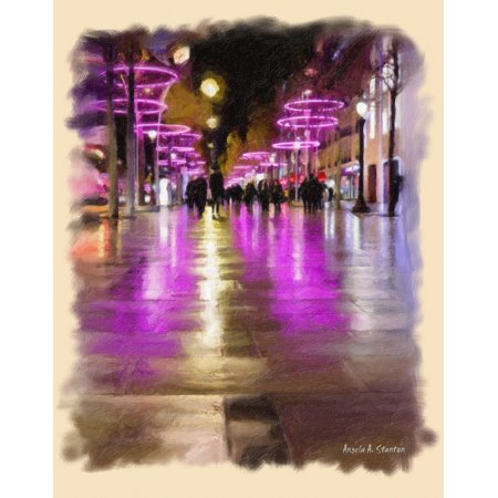 computer generated image of pedestrians on a walkway with pink neon