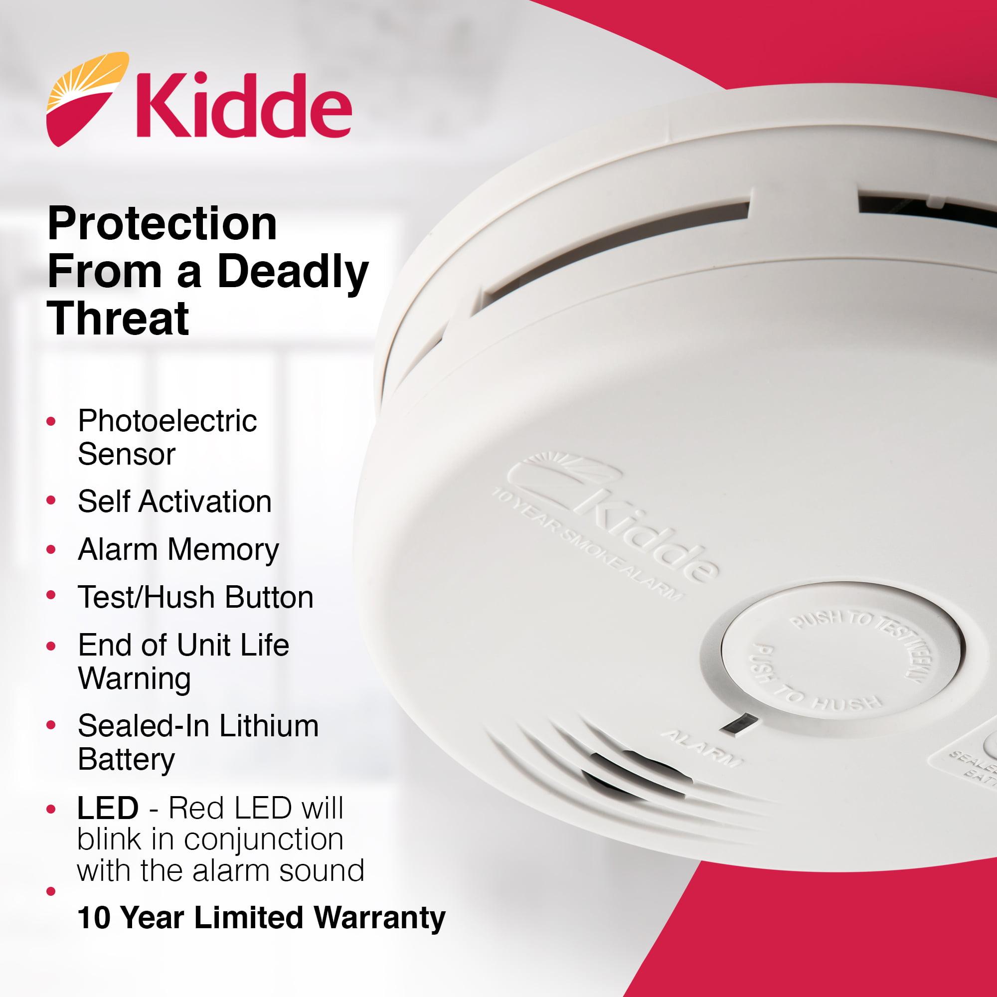 Kidde P3010H 10 Year Sealed Battery Smoke Alarm Detector Photoelectric Hallway Area