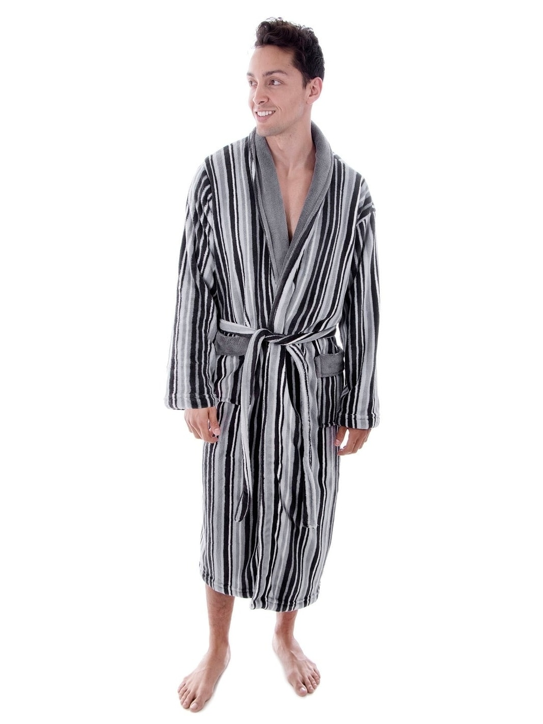 Simplicity Men s Hotel Fleece Terry Pocketed Bathrobe with Hood ... f7ca206c5