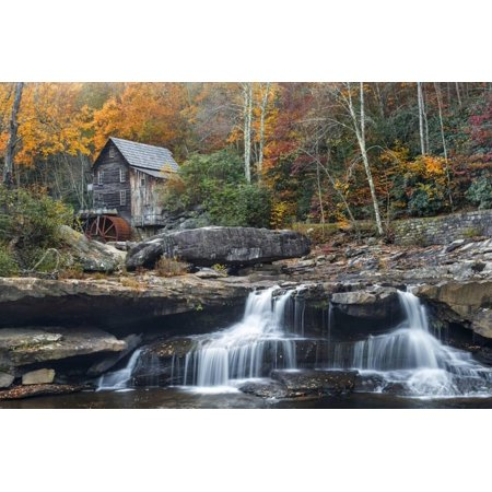Grist Mill on Glade Creek at Babcock State Park, West Virginia, USA Fall Autumn Forest Photo Print Wall Art By Chuck Haney