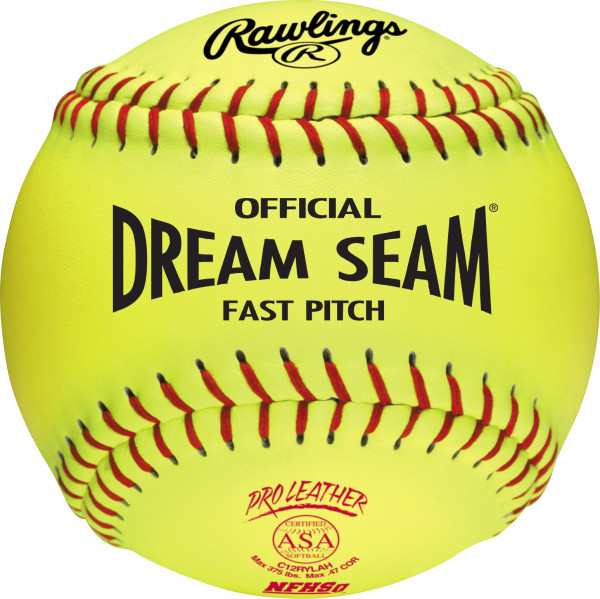 Rawlings Pro Leather Dream Seam ASA/NFHS Fastpitch Softball, 12-Pack