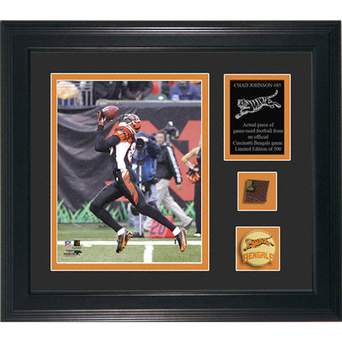 NFL - Chad Johnson Cincinnati Bengals Framed 8x10 Photograph with Game-Used Football Piece and Descriptive Plate-L.E. of 500