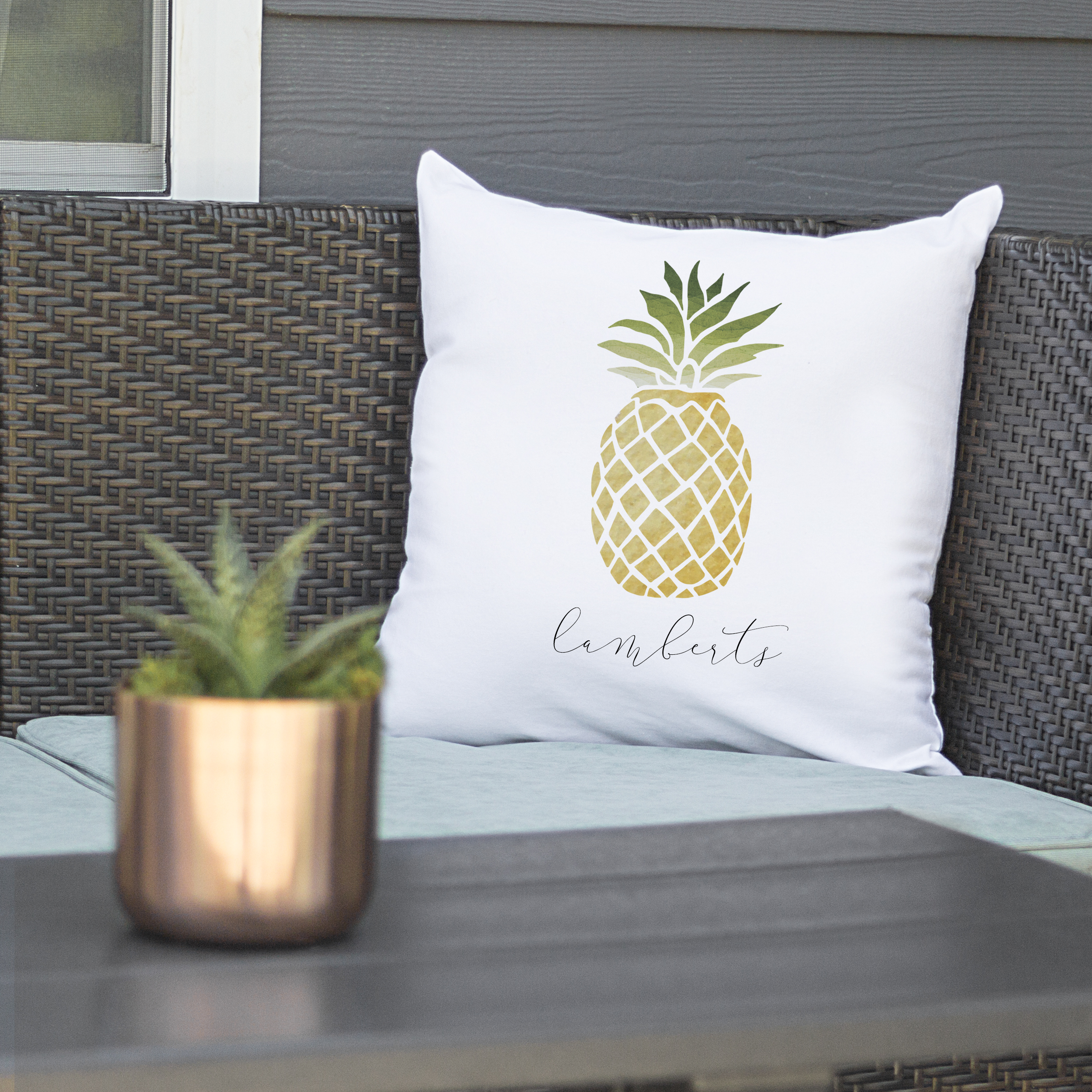 """Personalized Pineapple 16"""" Throw Pillow"""