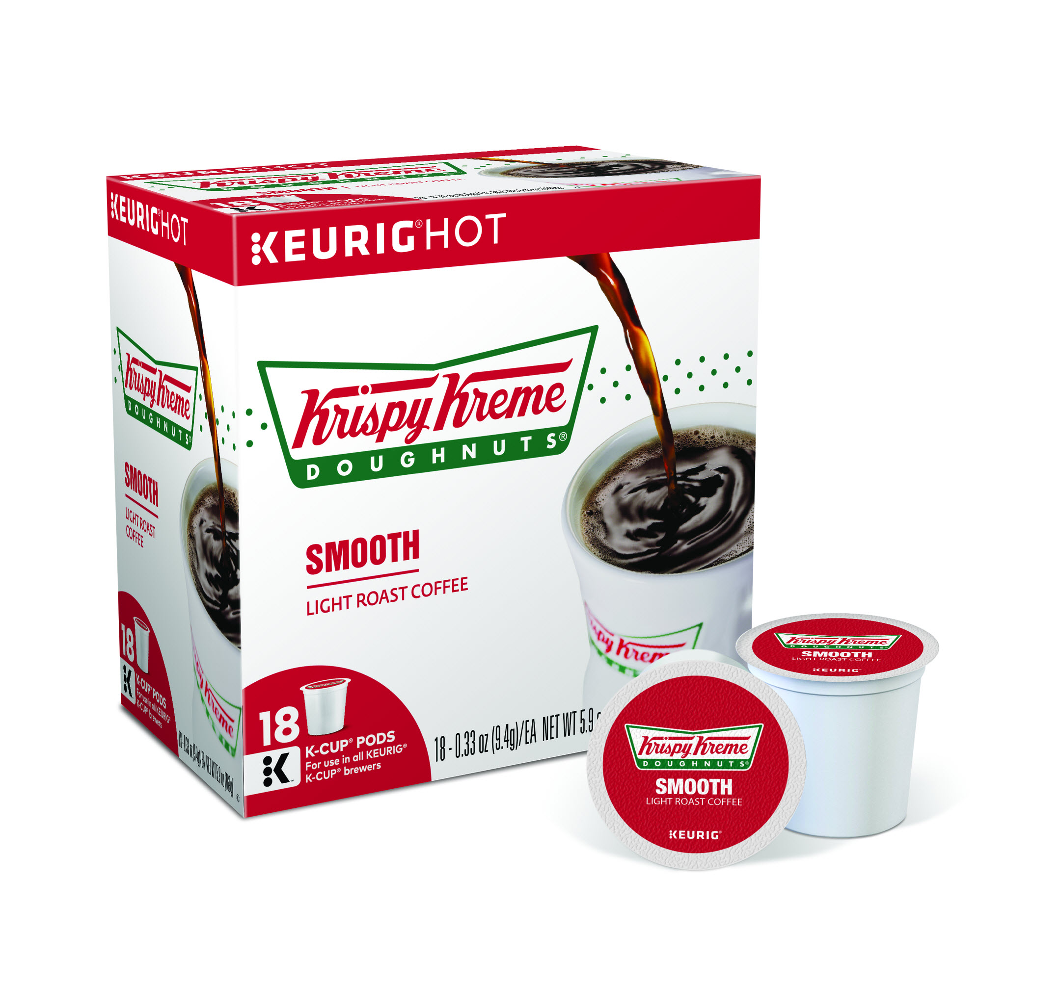 Krispy Kreme Smooth Keurig Single-Serve K-Cup Pods, Light Roast Coffee, 18 Count
