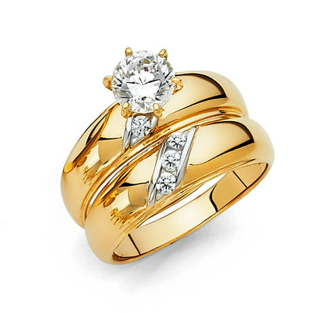Trio 3 Pcs Set Wedding Proposal Engagement Anniversary Band 14k Yellow Gold w/ CZ Solitaire 1.10ctw Ring His Band Size 10 & 7 Hers. Also Available 5-13 Tension Set Yellow Ring