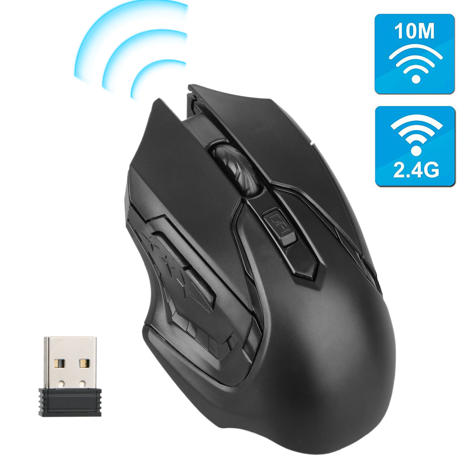 EEEKit Wireless Gaming Mouse  , 6 Buttons, 2.4GHz Gaming Mice With USB Receiver Pro Gamer For PC Laptop Desktop, White