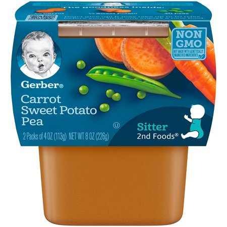 Gerber 2nd Foods Carrot Sweet Potato Pea Baby Food, 4 oz. Tubs, 2 Count (Pack of (Best Food For 9 Month Old Baby)