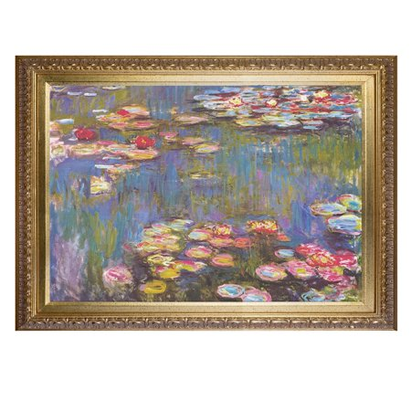 Claude Monet Art Reproduction Monet Water Lilies 1916 Paintings Giclee Canvas Prints Wall Art for Home Decoration Framed Ready to Hang