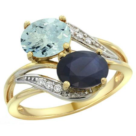 Natural Padparadscha Sapphire - 14K Yellow Gold Diamond Natural Aquamarine & Blue Sapphire 2-stone Ring Oval 8x6mm, sizes 5 - 10