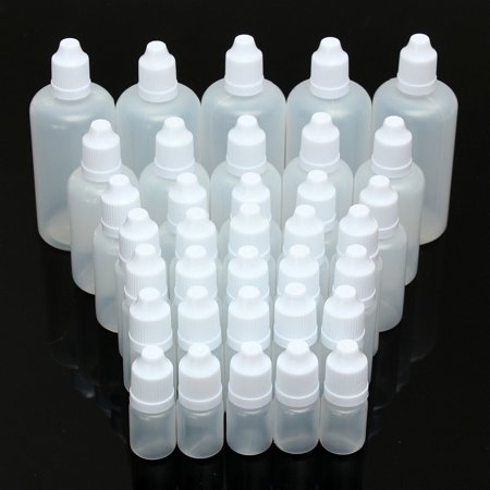 5-100ml Empty Plastic Squeezable Dropper Bottles Eye Liquid Container with Caps,1X/5X ()