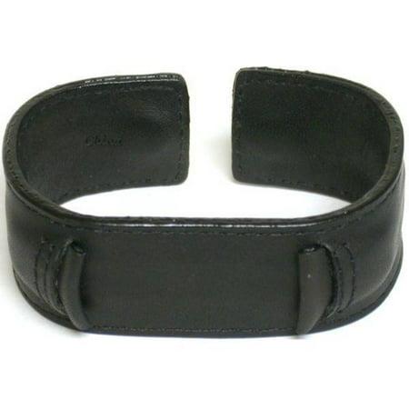 Watch Band Leather Black Wrist Cuff Wide Rock & Roll