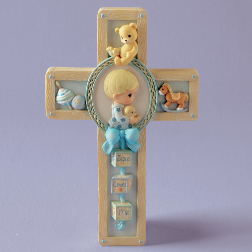 Precious Moments Jesus Loves Me Boy Praying Cross Hanging Art by Precious Moments