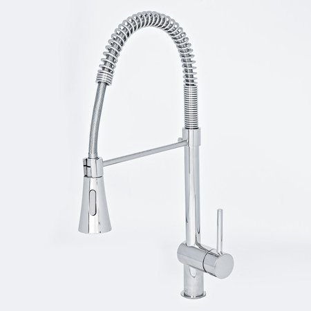 "GHP 21"" Chrome Single Lever Spring Pullout Kitchen Faucet w Dual Spray Control"