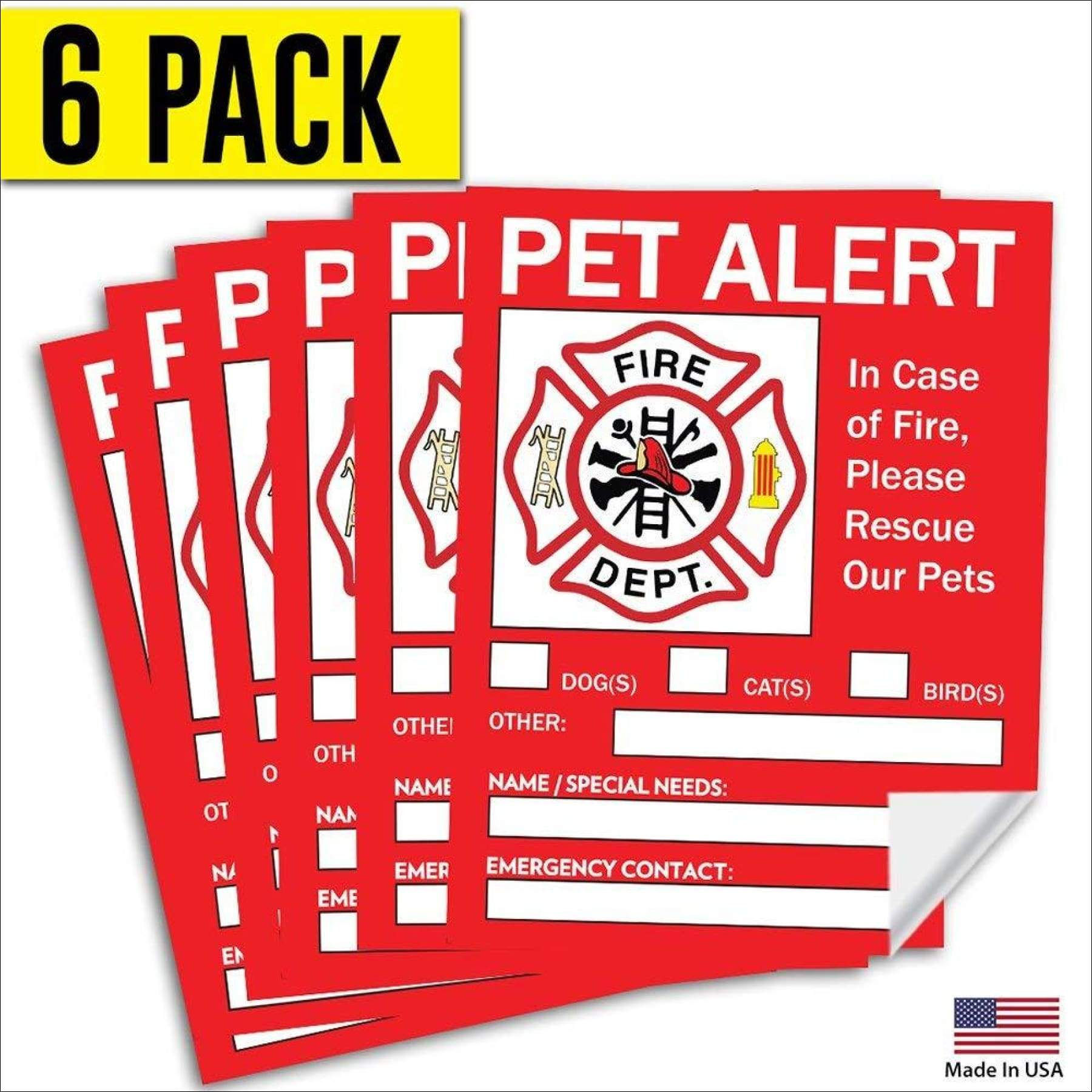 or house and know to rescue In Case of a Fire Emergency These stickers help with dog and cat safety. 4 Pack door Pet Inside Finder Sticker Firefighters will see the alert on your window