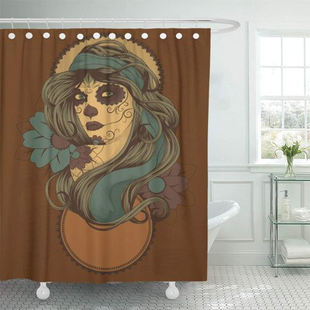 PKNMT Blue Gypsy Woman As Sugar Skull Detailed Hair Dressed Brown Tattoo Dead Day Bathroom Shower Curtain 66x72