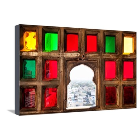 Town View from the Colorful Mosaic Window in City Palace Museum of Udaipur, Rajasthan, India Stretched Canvas Print Wall Art By Pikoso