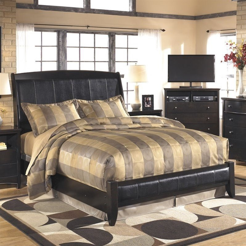 Ashley Harmony Upholstered Queen Sleigh Bed in Dark Brown by Ashley Furniture