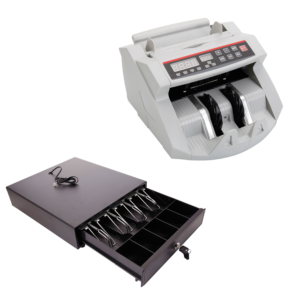 Ktaxon 4 Bill 5 Coin Cash Box Register Drawer + LED Money Cash Bank Counting Bill Counter Counterfeit Detect UV MG Machine