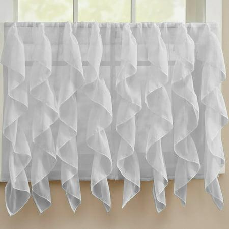 Sheer Voile Vertical Ruffle Window Kitchen Curtain 36