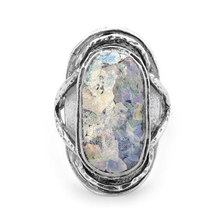 Oxidized Textured Sterling Silver Ring Large Oval Roman Glass - Ring Size: 6 to 10