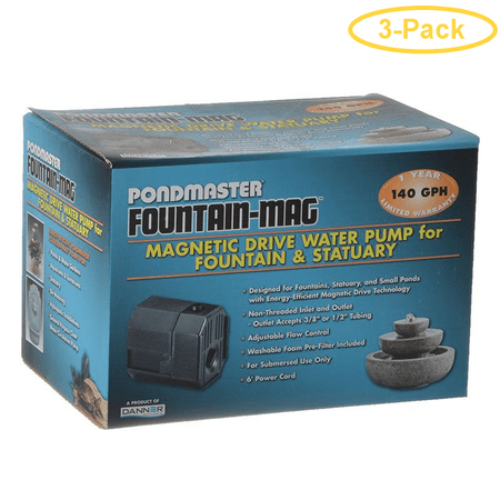 Pondmaster Pond-Mag Magnetic Drive Utility Pond Pump Model 1.5 (140 GPH) - Pack of 3