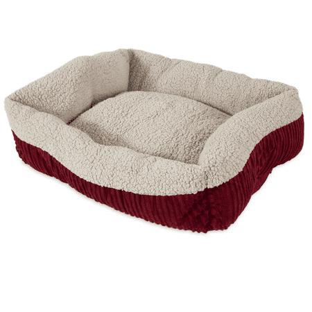 Aspen Pet Self Warming Rectangular Lounger Creme/Red 24