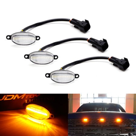 3 Piece Front Grille (iJDMTOY 3-Piece Clear Lens 36-SMD Amber Yellow LED Front Grille Running Lights For 2010-2014 and 2017-up Ford Raptor )