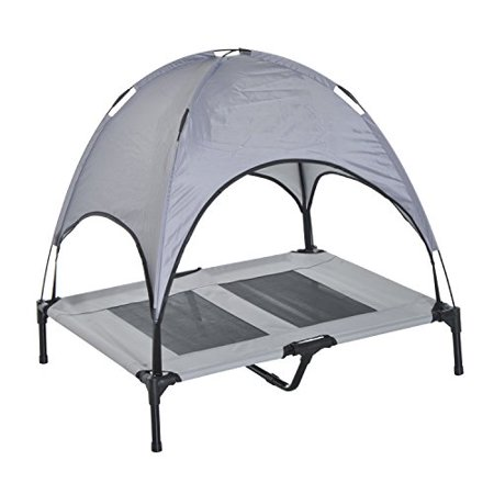Pawhut 36  Elevated Cooling Dog Bed Cot W  Canopy Shade   Gray