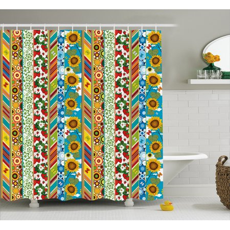 Striped Shower Curtain Colorful Summer Spring Retro Patchwork Style Pattern Sunflower Butterfly Strawberry Fabric