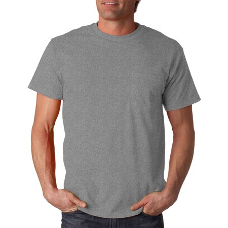 Fruit of the Loom Adult Tight Woven Cotton Pocket T-Shirt, Athletic Heather, 2X, Style, 3930P