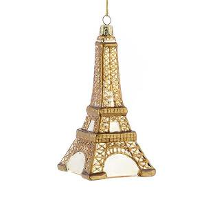 Noble Gems Gold Glass Eiffel Tower Christmas Ornament
