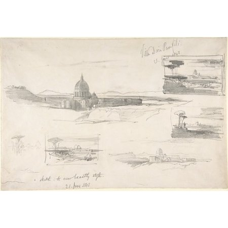 View Of St Peters Rome Poster Print By Edward Lear  British London 1812   1888 San Remo   18 X 24