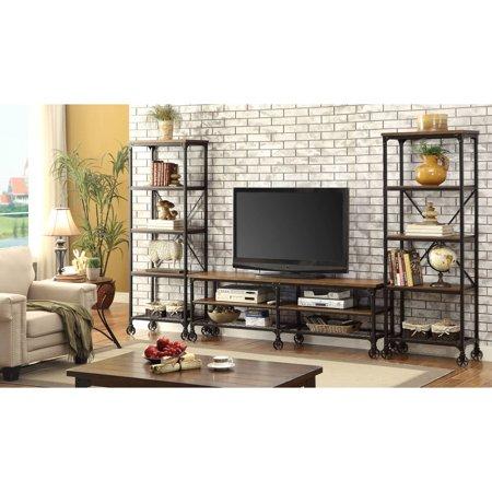 Furniture of America Janson Industrial 72-Inch TV Stand, Medium Oak