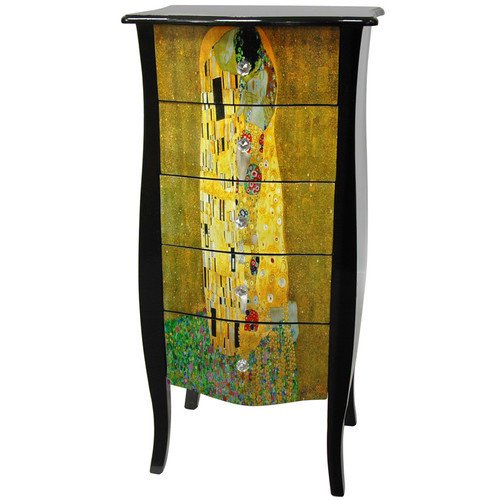 Oriental furniture klimt 39 39 the kiss 39 39 5 drawer lingerie for Asian furniture dc