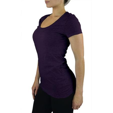 Belle Donne- Women's T Shirt Stretchy Scoop Neck Workout Yoga Cotton T-Shirt - Dark Purple/Large ()