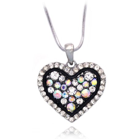 Cocojewelry Heart Pendant Necklace Valentines Day Jewelry Gift Box  Ab