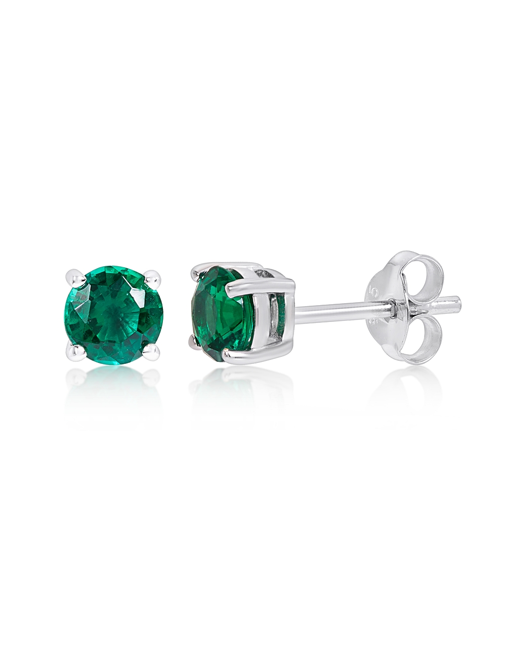 Sterling Silver Created Emerald Stud Earrings