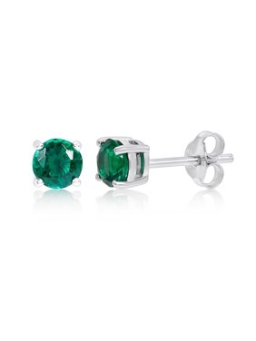 Product Image Sterling Silver Created Emerald Stud Earrings