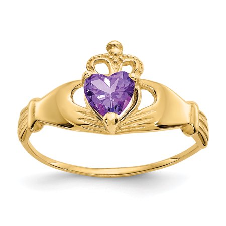 14kt Yellow Gold Cubic Zirconia Cz February Birthstone Irish Claddagh Celtic Knot Heart Band Ring Size 7.00 Style Fine Jewelry Ideal Gifts For Women Gift Set From Heart ()