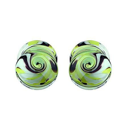 - BodyJ4You Plugs Glass Saddle Yellow Swirl Earrings Stretching Set 00G 10mm Body Piercing Jewelry