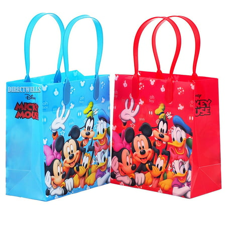 Mickey Mouse 12 Authentic Licensed Party Favor Reusable Medium Goodie Gift Bags - Frosted Favor Goodie Bags