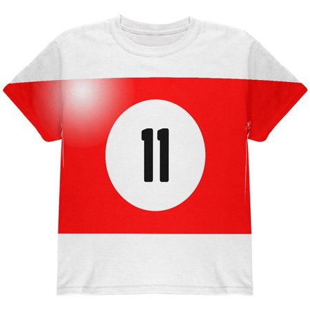 Halloween Billiard Pool Ball Eleven Costume Youth T Shirt - Pool Halloween