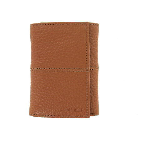 Cole Haan Mens Cognac 100% Genuine Leather Tri-Fold Wallet (Cole Haan Slim Wallet)